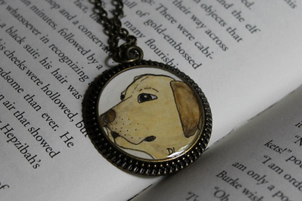Yellow Lab Original Watercolor Art Pendant Necklace